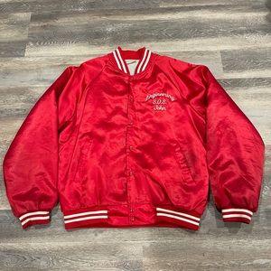 Vintage Hartwell Red Satin Jacket Mens L Bomber